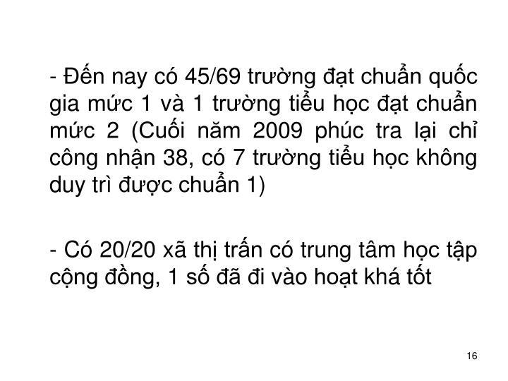 - n nay c 45/69 trng t chun quc gia mc 1 v 1 trng tiu hc t chun mc 2 (Cui nm 2009 phc tra li ch cng nhn 38, c 7 trng tiu hc khng duy tr c chun 1)