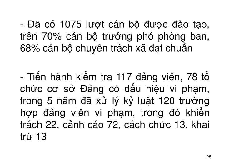 -  c 1075 lt cn b c o to, trn 70% cn b trng ph phng ban, 68% cn b chuyn trch x t chun