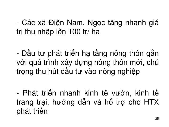 - Cc x in Nam, Ngc tng nhanh gi tr thu nhp ln 100 tr/ ha