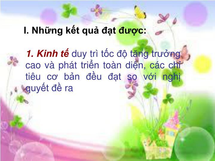 I. Nhng kt qu t c: