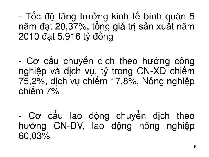 - Tc  tng trng kinh t bnh qun 5 nm t 20,37%, tng gi tr sn xut nm 2010 t 5.916 t ng