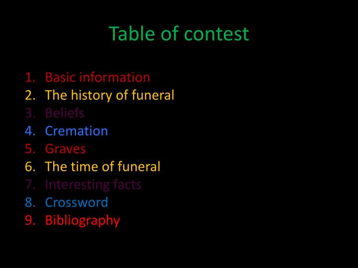 Table of contest