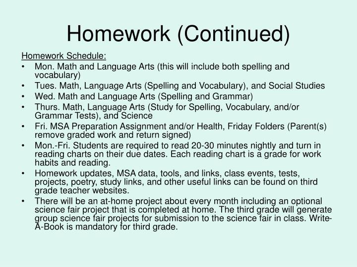 Homework (Continued)