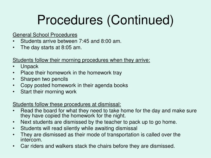 Procedures (Continued)