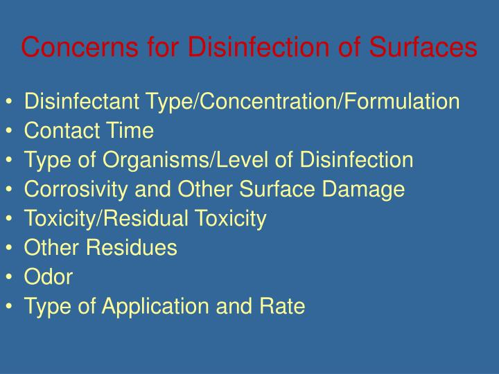 Concerns for Disinfection of Surfaces