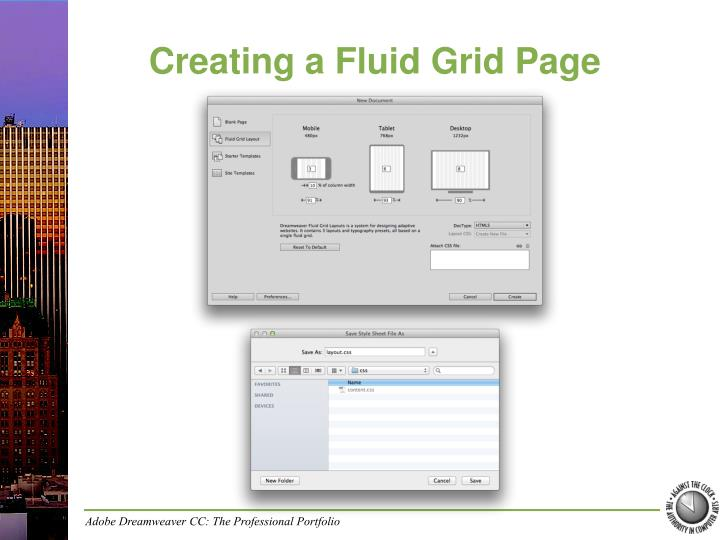 Creating a fluid grid page