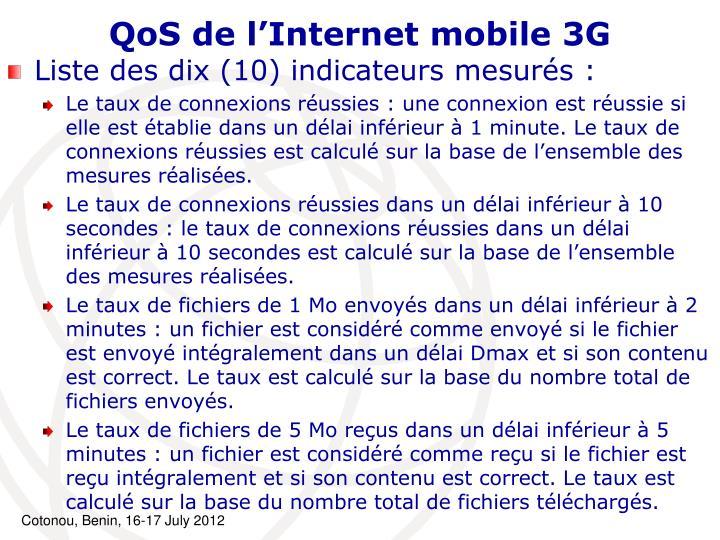 QoS de l'Internet mobile 3G
