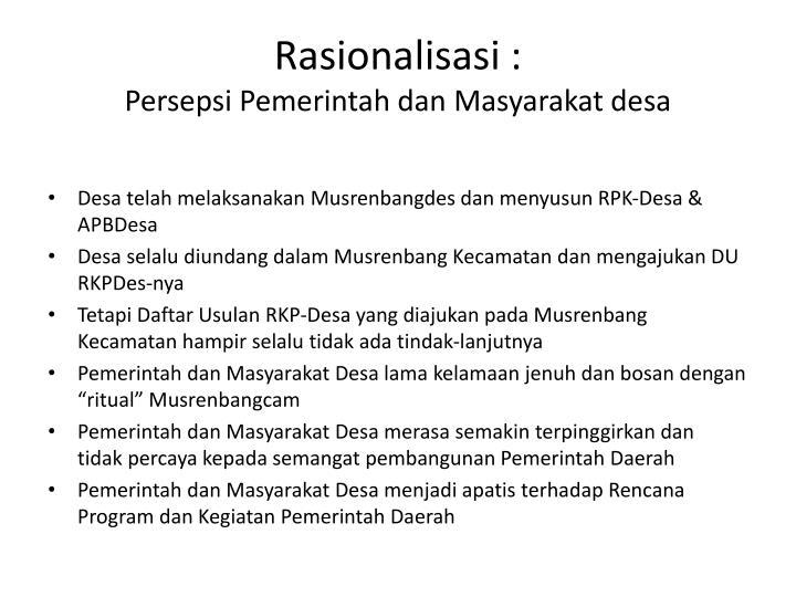 Rasionalisasi :