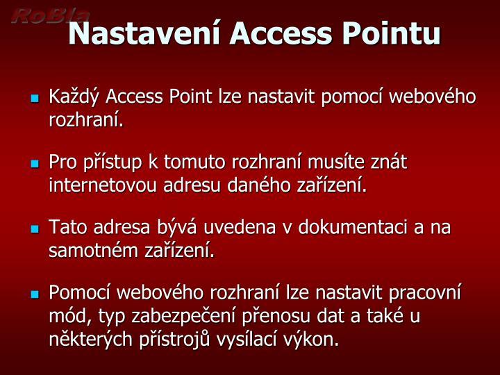 Nastavení Access Pointu