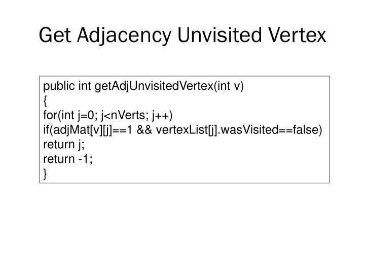 Get Adjacency Unvisited Vertex