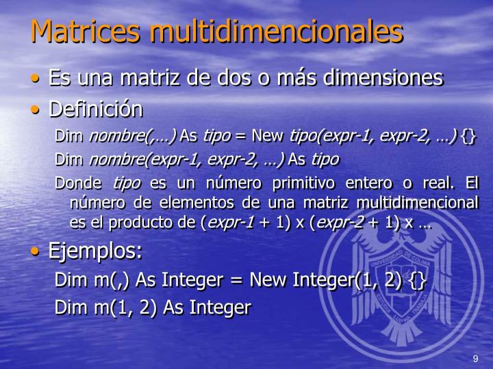 Matrices multidimencionales