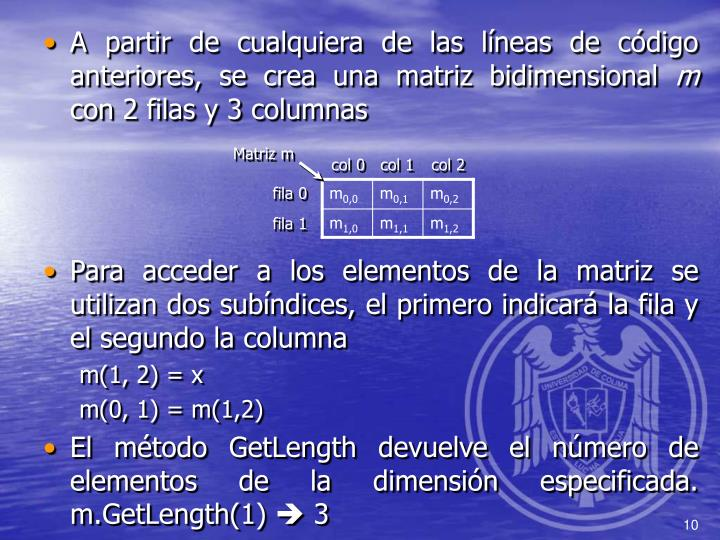 A partir de cualquiera de las líneas de código anteriores, se crea una matriz bidimensional