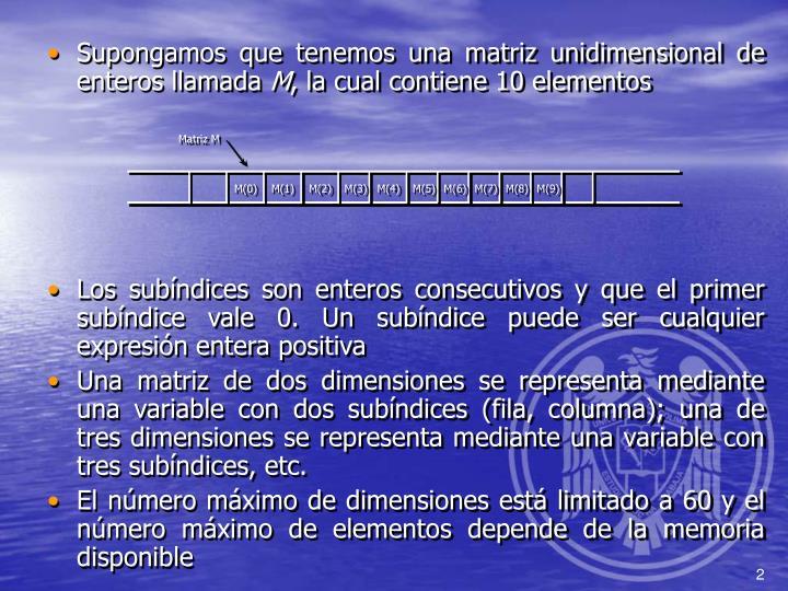 Supongamos que tenemos una matriz unidimensional de enteros llamada
