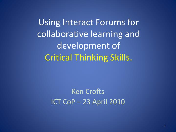 collaborative learning critical thinking