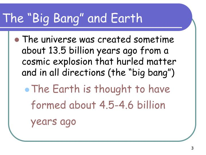 "The ""Big Bang"" and Earth"