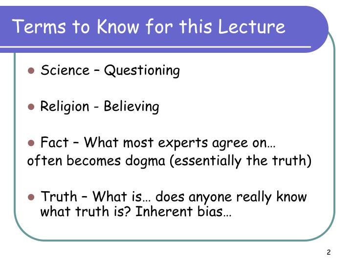 Terms to know for this lecture