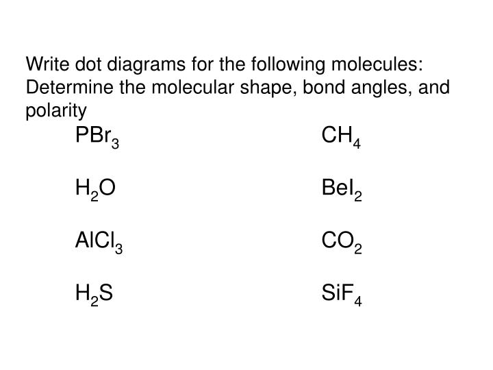 Write dot diagrams for the following molecules:
