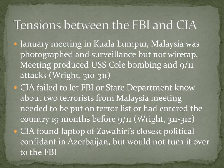 Tensions between the FBI and CIA