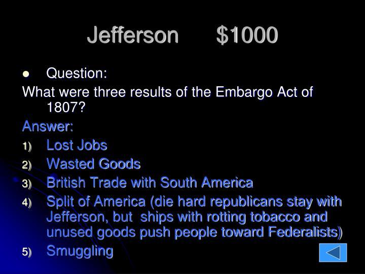 Jefferson      $1000