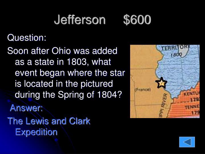 Jefferson     $600