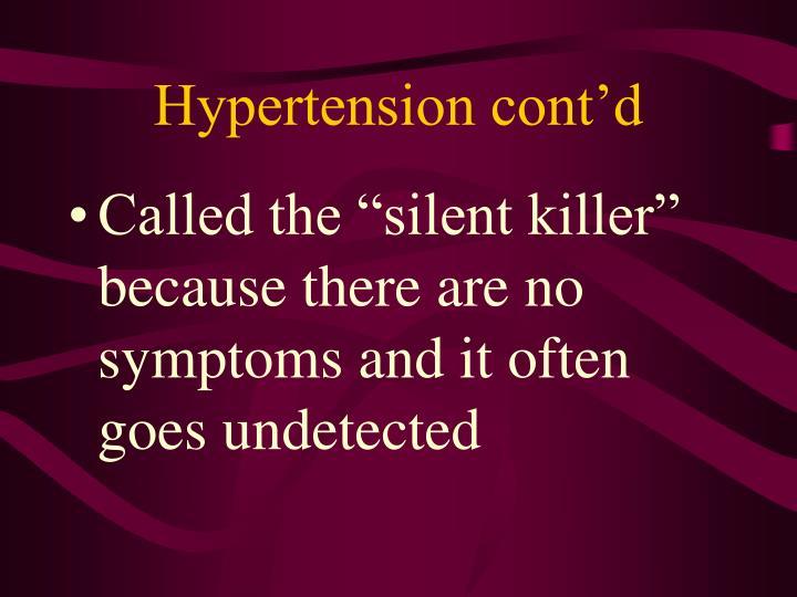 Hypertension cont'd
