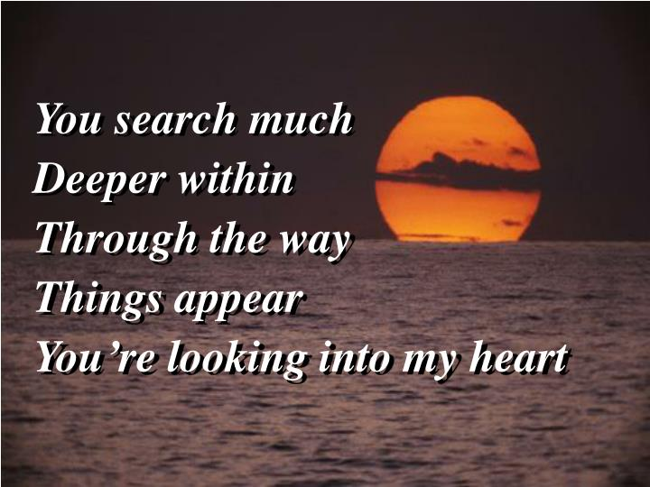 You search much