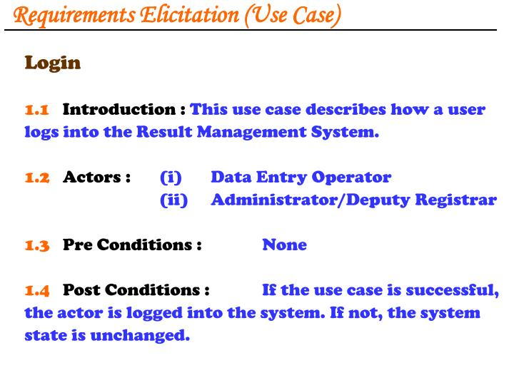 Requirements Elicitation (Use Case)