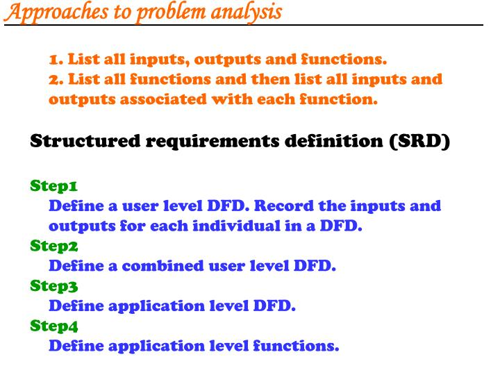 Approaches to problem analysis