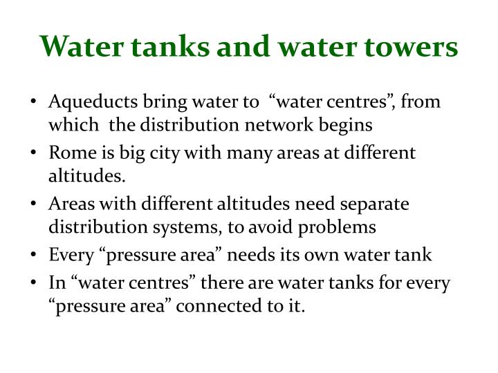 Water tanks and water towers