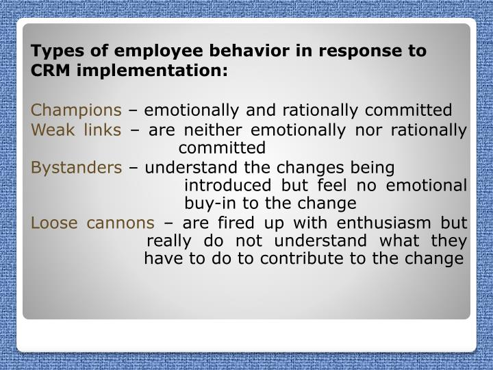 Types of employee behavior in response to