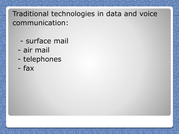 Traditional technologies in data and voice