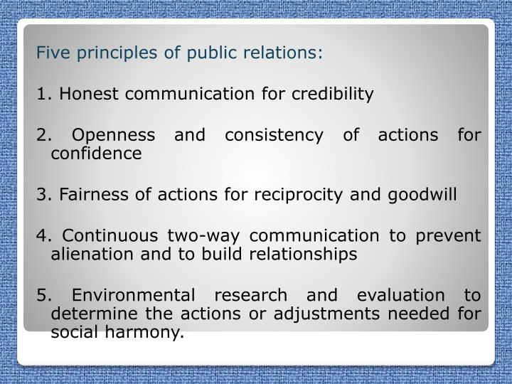 Five principles of public relations: