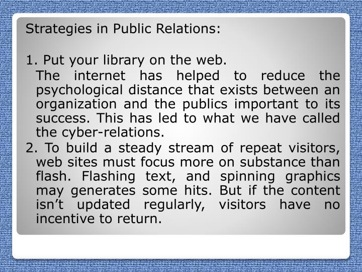 Strategies in Public Relations: