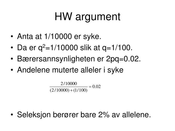 HW argument