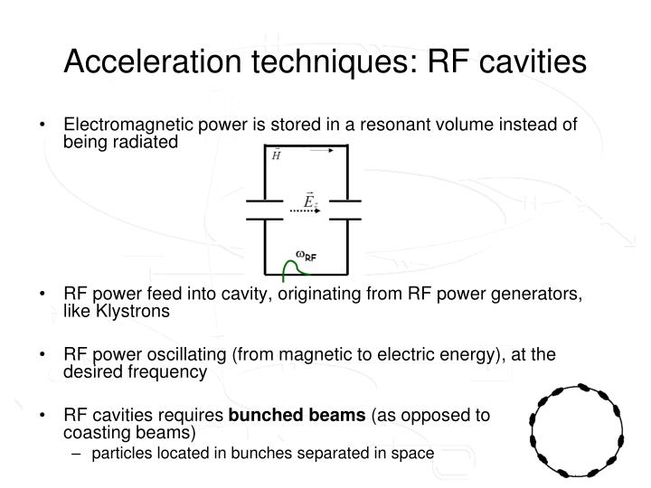Acceleration techniques: RF cavities