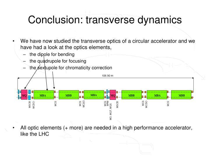Conclusion: transverse dynamics