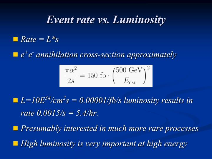 Event rate vs. Luminosity