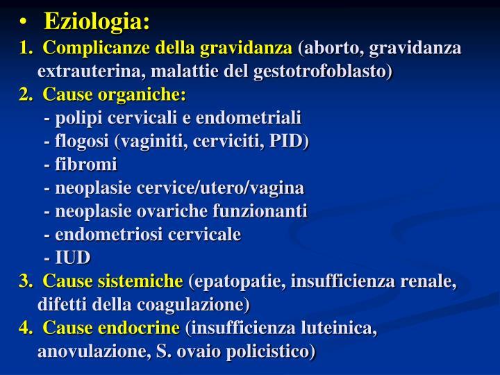 Eziologia: