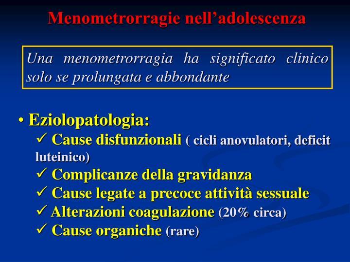Menometrorragie nell'adolescenza