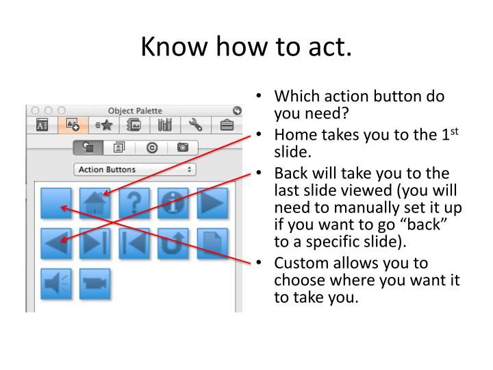 Know how to act.