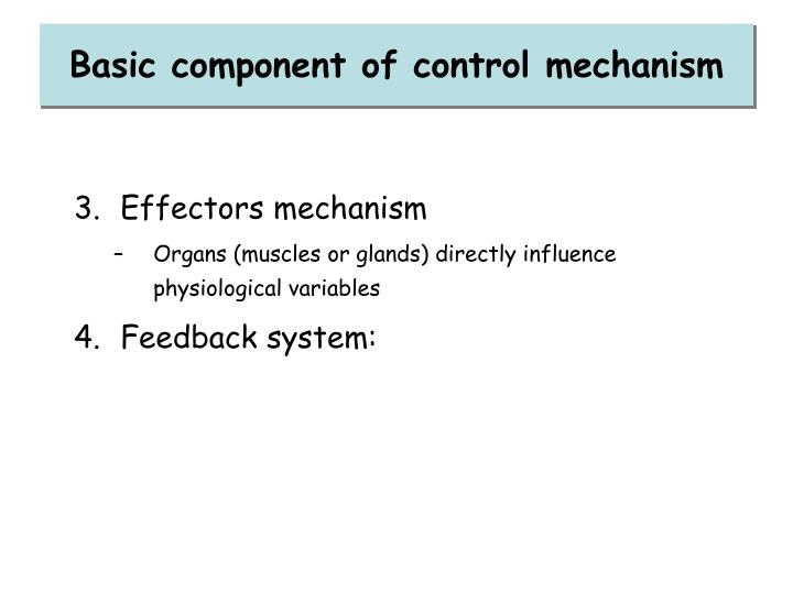 Basic component of control mechanism