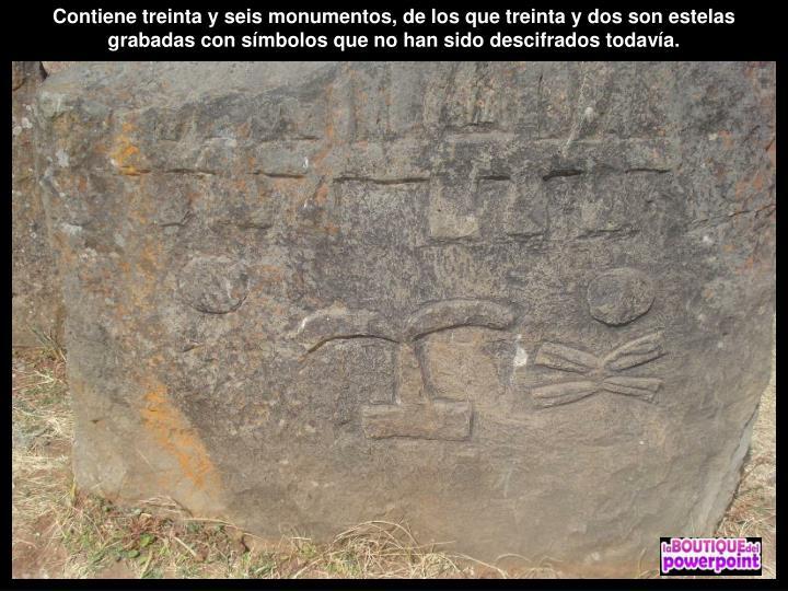 Contiene treinta y seis monumentos, de los que treinta y dos son estelas grabadas con símbolos que no han sido descifrados todavía.