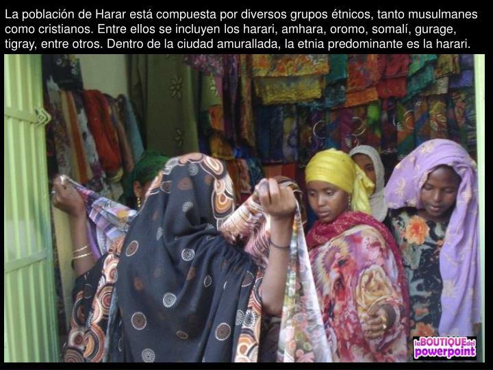 La población de Harar está compuesta por diversos grupos étnicos, tanto musulmanes como cristianos. Entre ellos se incluyen los harari, amhara, oromo, somalí, gurage, tigray, entre otros. Dentro de la ciudad amurallada, la etnia predominante es la harari.
