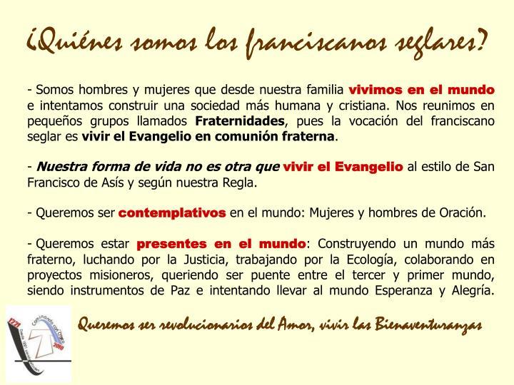 ¿Quiénes somos los franciscanos seglares?