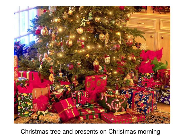 Christmas tree and presents on Christmas morning