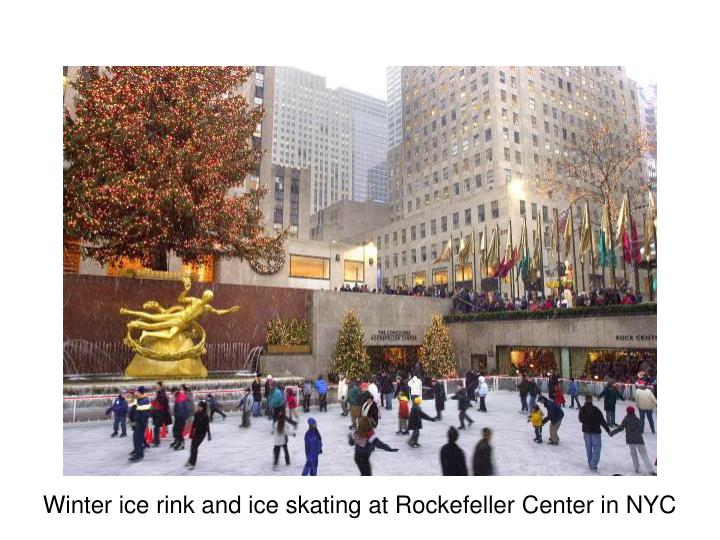 Winter ice rink and ice skating at Rockefeller Center in NYC