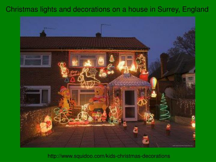 Christmas lights and decorations on a house in Surrey, England