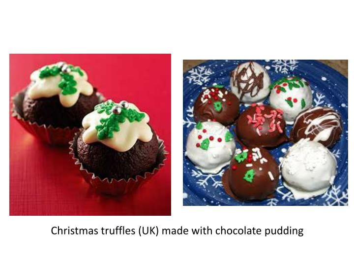 Christmas truffles (UK) made with chocolate pudding