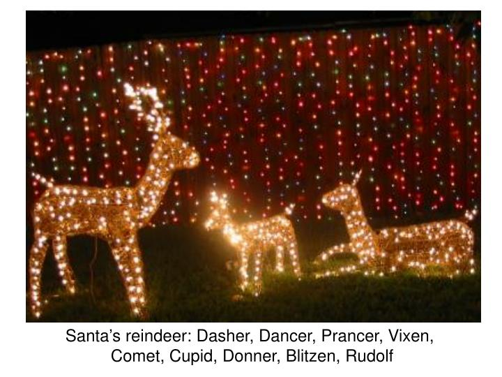 Santa's reindeer: Dasher, Dancer, Prancer, Vixen,