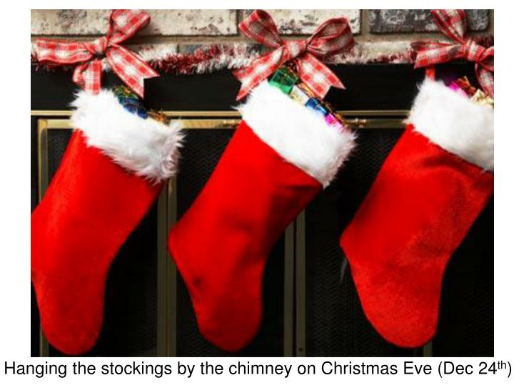 Hanging the stockings by the chimney on Christmas Eve (Dec 24